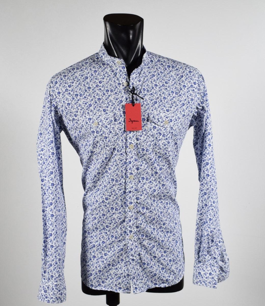 meet 6358f c55af Dettagli su Camicia Ingram Regular Fit collo Coreana con tasconi 100%  Cotone stampato